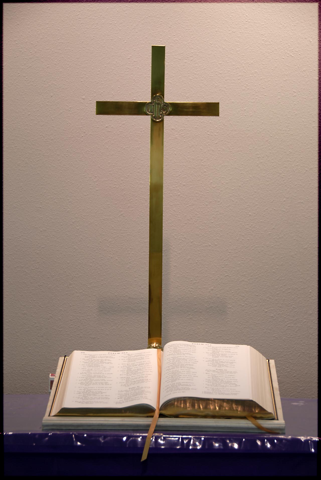 altar cross and bible
